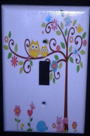 Dena HAPPI TREE LIGHT SWITCH plate Owls single switch plate Kids Line Happi Tree
