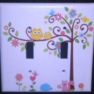 Dena HAPPI TREE DOUBLE LIGHT SWITCH plate Owls switch plate Kids Line Happi Tree