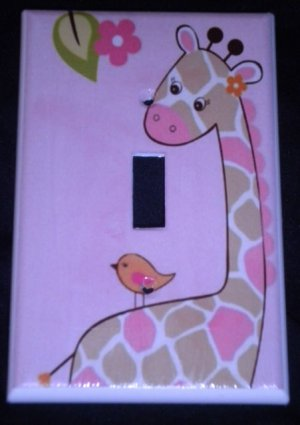 Jungle Jill GIRAFFE LIGHT SWITCH plate Pink Giraffe single switch plate CUTE