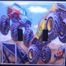 MONSTER TRUCKS DOUBLE LIGHT SWITCH COVER Double switch plate Kids room decor