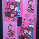 BOBBY JACK LIGHT SWITCH COVER * I Love Candy * Monkey PINK CUTE!