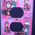BOBBY JACK OUTLET PLATE COVER * I Love Candy * Monkey PINK CUTE!