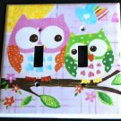 Circo LOVE and NATURE OWL DOUBLE LIGHT SWITCH plate Owls PINK cute Double switch