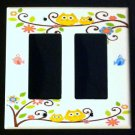 Dena HAPPI TREE DOUBLE GFI Outlet / Rocker LIGHT SWITCH plate Owls GFI Kidsline