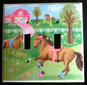 Circo PRETTY HORSES DOUBLE LIGHT SWITCH plate Horses double switch plate CUTE!