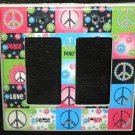 Neon PEACE SIGNS & FLOWERS DOUBLE LIGHT SWITCH Rocker / GFI Outlet