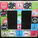Neon PEACE SIGNS & FLOWERS DOUBLE LIGHT SWITCH Rocker / GFI Outlet