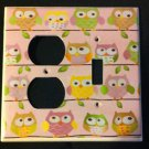 Circo LOVE and NATURE OWL LIGHT SWITCH / OUTLET Combo Plate PINK