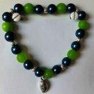 Handmade SEATTLE SEAHAWKS Football Team Colors BRACELET Pearl & Gemstone