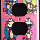 BOBBY JACK OUTLET PLATE COVER * Text Me LOL * Monkey PINK CUTE!