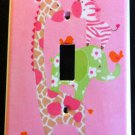 Jungle Jill LIGHT SWITCH plate Pink Giraffe Zebra Elephant Monkey CUTE