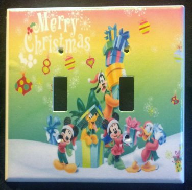 Disney MICKEY MOUSE Christmas DOUBLE LIGHT SWITCH COVER Cute! Mickey & Friends