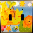Fisher Price PRECIOUS PLANET DOUBLE LIGHT SWITCH plate GIRAFFES switch plate