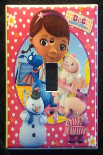 DOC MCSTUFFINS LIGHT SWITCH COVER Lambie Chilly Hallie Stuffy Switch plate Pink