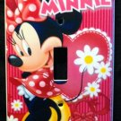 MINNIE MOUSE LIGHT SWITCH COVER Red with flowers Single switch plate