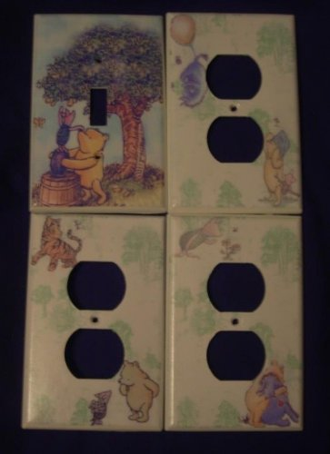 CLASSIC POOH LIGHT SWITCH & OUTLET COVERS *CUTE!* Single switch & 3 outlets