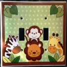 Jungle Safari Animals Double LIGHT SWITCH plate Monkey Giraffe Zebra Lion