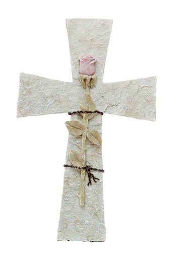Rose On Stone Cross  (Item # 31021)