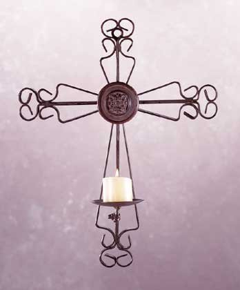 Wrought Iron Cross Candle Holder (Item # 32366)