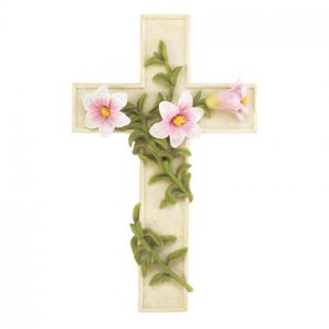 Wall Cross with Flowers and Vine (Item # 33569)