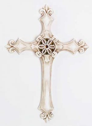 Ivory-Finish Wall Cross with Fleurs-de-Lis and Amber Rhinestones (Item # 34171)