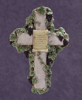 Grapevine Cross with John 15-5 (Item # 34176)
