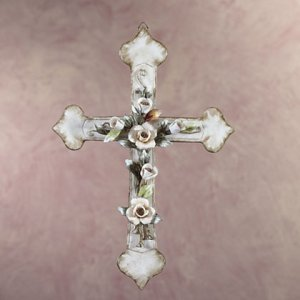 Porcelain Antique-Finish Cross with Rose (Item s#34907)