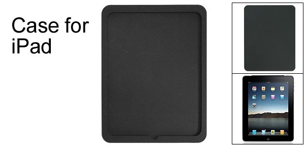 Protector Case Textured Black Back Silicone Skin for iPad