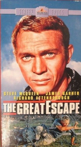 The Great Escape (VHS, PG-13, 2 Tape-Set, 1963) Steve McQueen, Vintage Adventure Like New