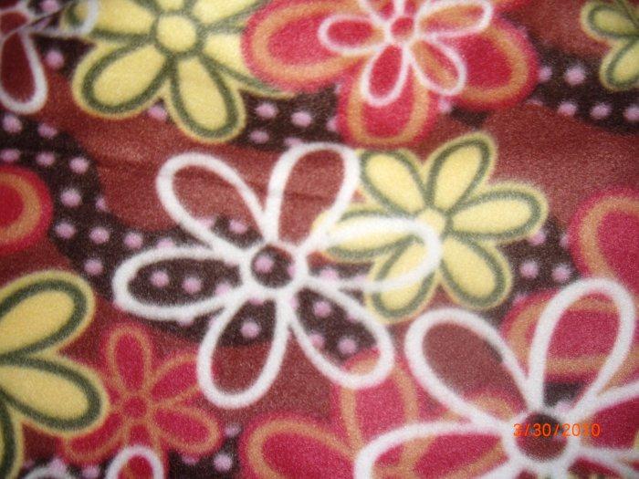 Homemade Fleece Tie Baby Blanket- Flowers- (28 x 25.5)