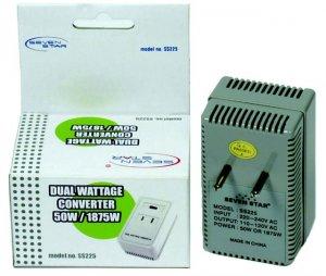 Dual Wattage Travel Converter 50-1875 Watts 220V TO 110V SS225