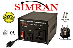 Simran AC500W 500 Watt Step UP/DOWN Voltage Converter Transformer for Heavy-Duty Continuous Use