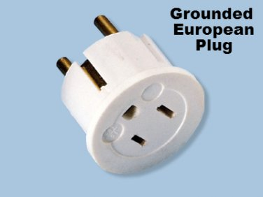 European Schuko Plug With Grounding SS-409 American to Euro Grounded Adapter Type E/F