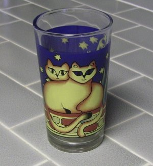 Colorful Cat Drinking or Beverage Glass