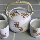 Tea Pot, 4 cups, made in Japan, Vintage, white, orange, gold