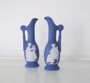 Blue Miniature Urns, vintage, Jasperware, bisque, set of 2