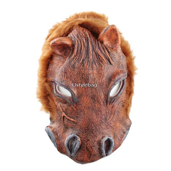 Brown Soft Rubber Horse Face Mask Halloween Costume New