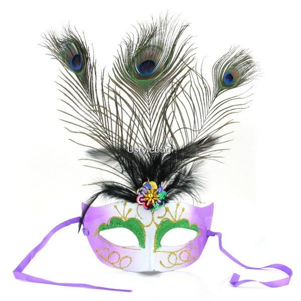 Peacock Feather Glitter Eye Mask Dress-up for Masquerade Party Ball Halloween