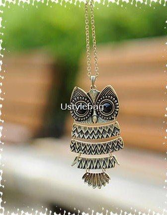 owl necklace Copper