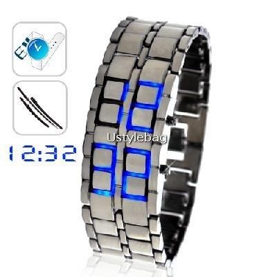 Stainless Silver Steel LED Blue Digital Unsex Bracelet Watch