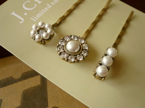 Vintage pearl hairpin 1 set for three pieces free shipping