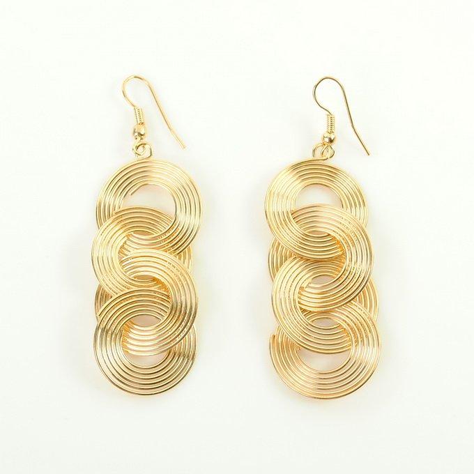 New Cute Gold Long Fashion Dangle Earrings EG0005 free shipping