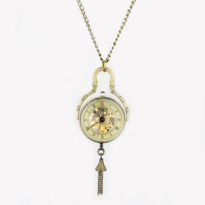 New Retro Crystal Ball Necklace Pendant Watch Bronze Color