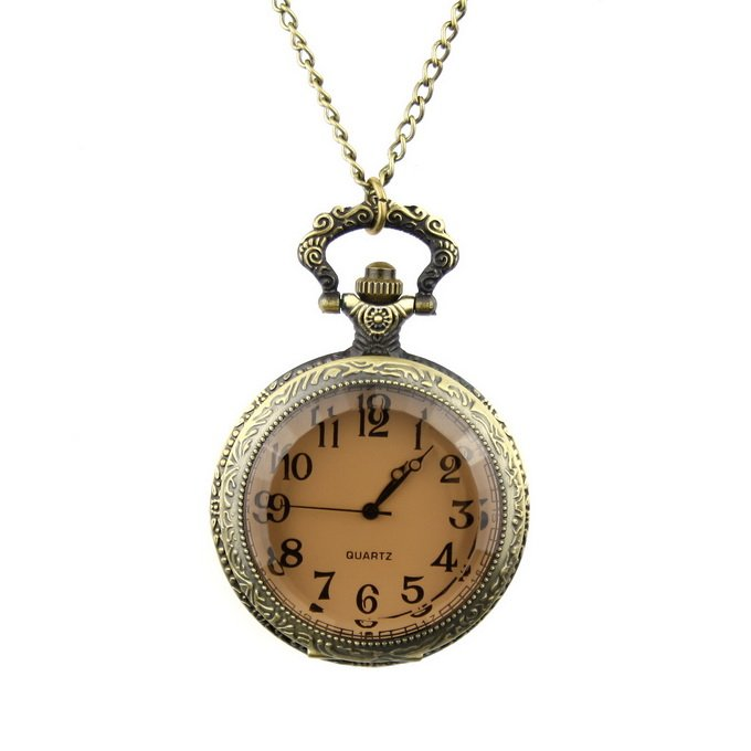 New Retro Necklace Pendant Watch Bronze Color Carvings