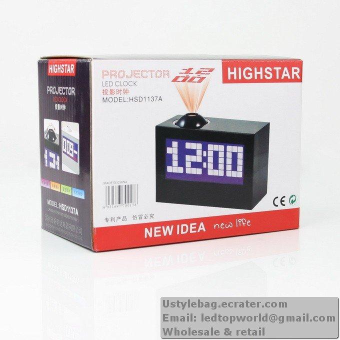 New Digital LED Projector Alarm Clock Black Rotate 180°