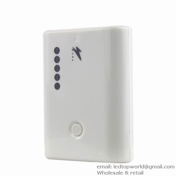 Free shipping USB 5000MAH Mobile Power Portable Charger White for MP3 MP4 PSP iPad
