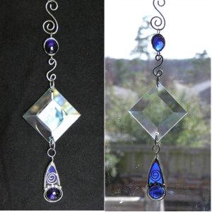 Suncatcher Sapphire Blue Gem Pendant and Bevel