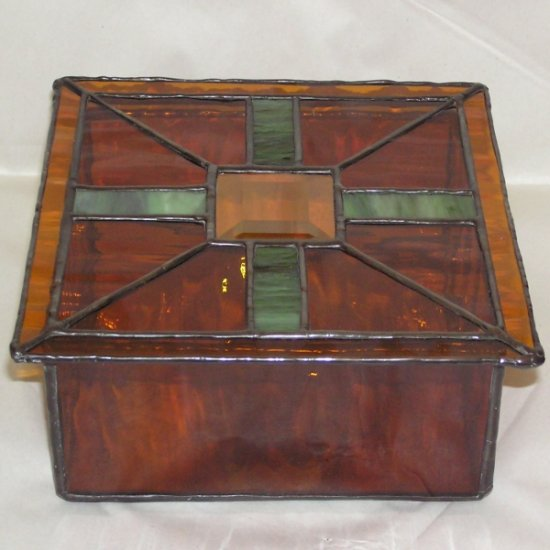 Glass Jewelry Box - Amber Green and Clear Bevel