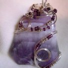 Wire-Wrapped Natural Amethyst Pendant
