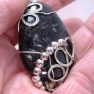 Wire-Wrapped Black Labradorite Gemstone Pendant